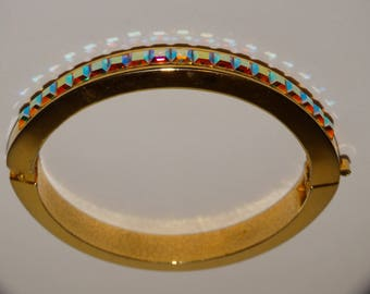Vge Gold Tone Aurora Borealis Square Stone Oblong Bangle Bracelet.