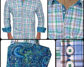 White Green Blue Plaid with Paisley Men's Designer Dress Shirt - Made To Order in USA