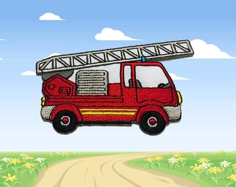 Fire Engine Iron on patch (L) - Fire Engine Applique Embroidered Iron on Patch Size 10.2x6.2cm