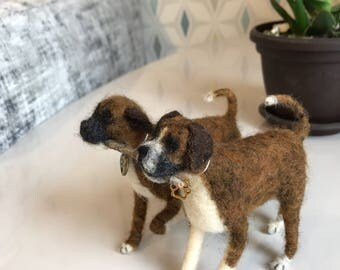 Needle Felted Dogs Boxer Pair  Custom Pet Portrait  MADE TO ORDER