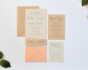rustic wedding invitation kraft wedding invitation peach wedding invitations stacked belly band - Peach Wedding Invitations