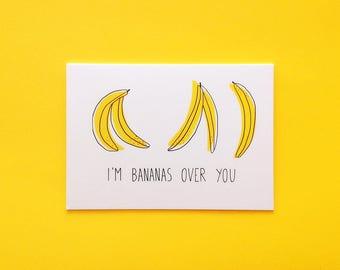 Bananas over you greeting card