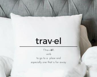 Travel Definition, Bedroom Decor, Throw Pillow Cover, Modern Decor, Black and White Decor, Decorative Pillows, Simple Decor