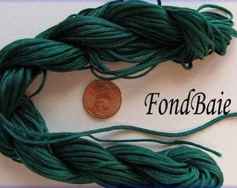 FIL Echeveau 15m nylon tressé 1,5mm Vert foncé DIY création bijoux bracelet tressage shamballa