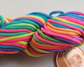 Fil Echeveau 25m nylon tressé 1mm MULTICOLORE DIY création bracelet shamballa