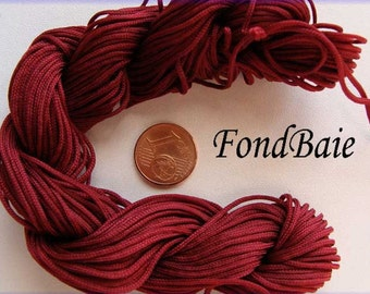 Fil Echeveau 25m nylon tressé 1mm ROUGE FONCE DIY création bracelet shamballa