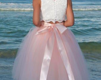 blush tulle skirt, premium quality soft tulle,  tutu,girls tulle skirt, blush color tutu, flower girl tutu