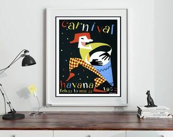 Cuba Poster Cuban Poster Cuba Carnival Poster 1952 Vintage Cuban Wall Art Tourism Poster Cuba Travel Print Cuban Decor Cuban Art