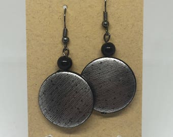 Burnished Silver and Black Disc Drop Earrings