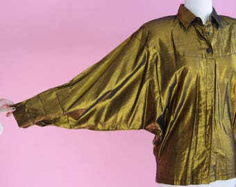 Vintage Contempo Casuals Gold Top // 80s Prom / 1980s Oxford Metallic Shirt / Bronze Blouse / Women Size Small Medium