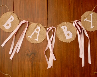 Baby Shower Burlap Banner, Baby Shower Banner, Baby Shower Decoration, Circle Banner, Burlap Banner, Baby Bunting Banner, Baby Bunting, Baby