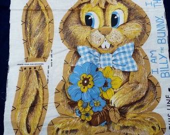 Vintage Billy Bunny Character Fabric Pillow Panel,  Cut N Sew Stuffed Animal Panel, Billy the Bunny Toy Doll Craft A14
