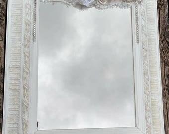 White ornate mirror, embellished mirror, shabby chic decor, cherub wall decor, vintage mirror, romantic decor, french country, blue silver