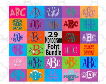 Monogram Font SVG Bundle, 29 Vector Fonts for Cricut, Silhouette Scal in SVG, EPS, Dxf , Interlocking, Circle, Diamond, Chevron, Master