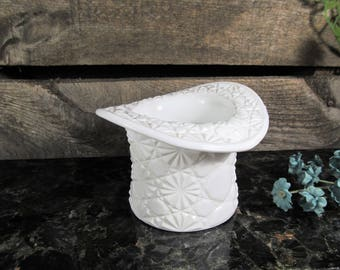 Fenton Top Hat, Milk Glass, Daisy Button Pattern, Planter or Vase, Trinkets or Jewelry Catch, Vintage Home, Office & Farmhouse Rustic Decor
