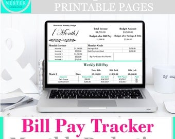 Weekly expense track | excel weekly income | financial printables | income tracker | bills organizer | life tracker | household binder