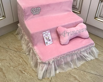 Ballerina Pink Pet Stairs With Sparkling Crown Designer Pet Steps Dog Ramps Dog  Stairs In Pink