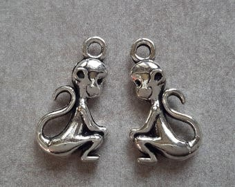 Monkey pendants charms monkey perforated - metal - 20 x 11 mm