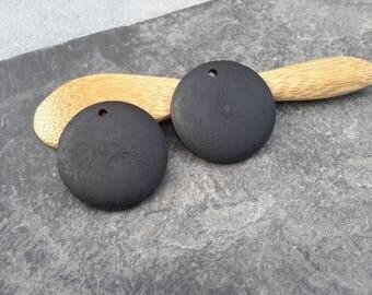 Wooden pendants, pendants round wooden pallets black, ethnic pendant, 25 mm, 2 pcs