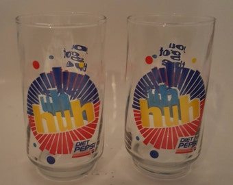 1980's Diet Pepsi Uh Huh You Got The Right One Baby Glasses - 2