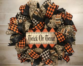 Halloween Wreath, Burlap Wreath, Primitive Halloween, Trick or Treat Wreath, Halloween Decor, Halloween Decoration, Halloween, Wreath