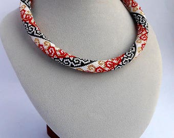 Beaded Crochet Necklaces Elegant Beaded necklace Handmade necklace Miyuki delica Red bracelet Jewelry Necklaces Jewelry Gift for her