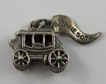 Stagecoach With Minnesota Tag Sterling Silver Vintage Charm For Bracelet
