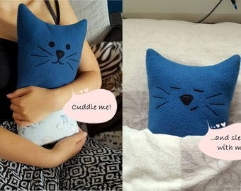 Christmas gift, blue cat pillow, Stuffed Animal, two sided toy, children cushion, Cat plushie