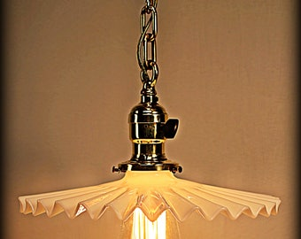 Industrial Pendant Lamp with Petticoat Shade and Brass Chain ca. 1910