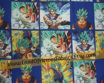 Two Remnants Left!! Dragon Ball Z on a Fun, 56 Inch Wide Cotton-Poly Fabric - by the Half-Yard or Yard