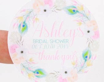 Bohemian Bridal Shower Thank You Stickers - Bohemian Baby Shower Thank you Stickers - Personalized Thank You Stickers - Treat Bag Stickers