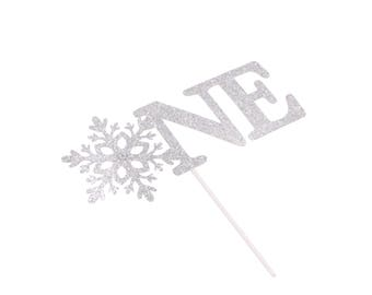 Snowflake One Cake Topper - Little Snowflake - Winter ONEderland - Baby Its Cold Out Side - Silver Glitter Snowflake Cake Topper