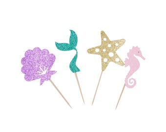 Mermaid Cup Cake Topper, Mermaid Party, Mermaid Cake Topper,  Seashell, Mermaid Tail, Star Fish, Sea Horse Cupcake Topper, Glitter Toppers