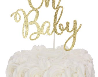 Oh Baby Cake Topper, Oh Baby Shower, Glitter Cake Topper, Gender Reveal Party, Baby Shower Cake Topper