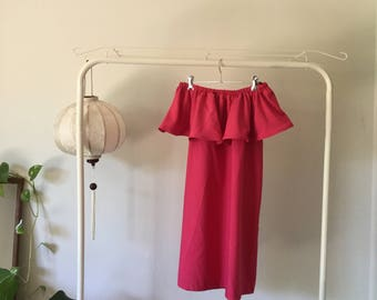 Pink off-shoulder dress with ruffle