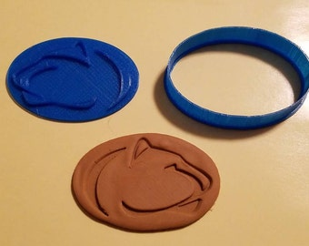 University Pride Series Penn State Logo Design Cookie/Fondant/Candy/Playdoh Cutter with Detail Impression Disc