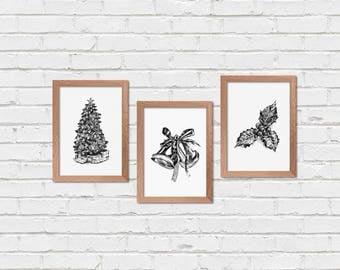Christmas Wall Decor, Black and White Christmas Prints, Christmas sign, Christmas Decorations, Holly Berry, Christmas Tree, Christmas Bell