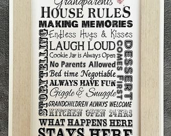 Grandparents Gift Idea House Rules Word Art Print UNFRAMED Nana Grandad P131