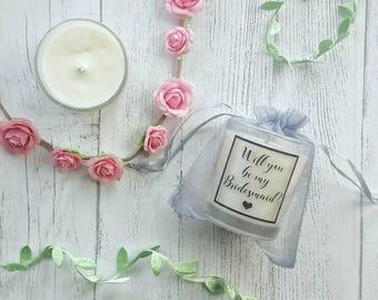 Bridesmaid candle, bridesmaid proposal, Will You Be My Bridesmaid,bridesmaid gift, Maid of Honour Gift, Personalised bridesmaid candle gift.