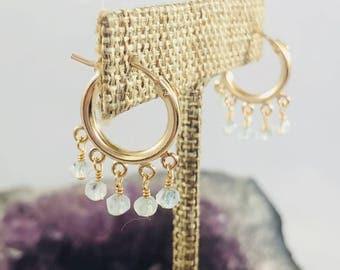 Shimmy Gold Fill hoops | gemstone hoops, gold fill hoops, gold hoop earrings, aquamarine earrings, snap hoops,small hoop earrings,gold hoops