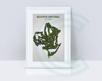 Augusta National Golf Course Map - The Masters - Golf Majors Series - 2018 - 8.5 x 11 Print
