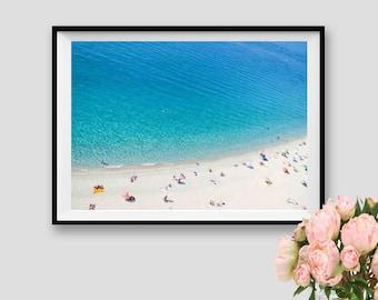 Modern Wall Art Beach People Coastal Decor Aerial Beach Print Italy Wall Art Sea Instant Download Ocean Decor Printable