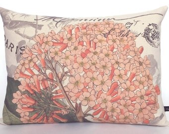 Hydrangea pillow cover Spring Summer floral flower French ephemera 12x16 canvas cottage chic cushion #248 FlossieandRay