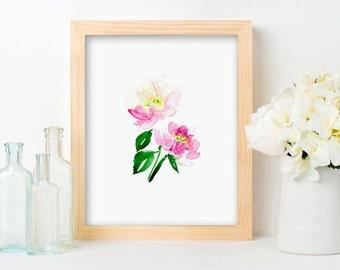 Peony Print - Pink Floral Art, Pink peonies, Pink Nursery Florals, Farmhouse Style Art, Pink Watercolor, pink bloom, girls room art