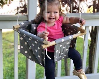 toddler swing, baby swing, indoor swing, outdoor swing fabric swing, baby shower gift, polka dot fabric, indoor furniture, outdoor furniture