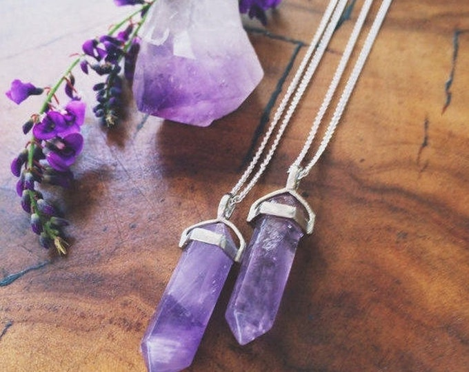 Amethyst Pendulum Necklace / Healing Crystals