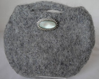 grey clutch bag, sparkle evening bag, grey felt purse, felt clutch bag, gray mohair clutch, bag with brooch, grey evening purse, mohair bag