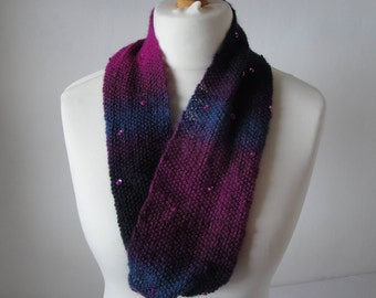 purple mix scarf, bead and sequin cowl, wool and silk snood, fine knit scarf, lightweight snood, twisted loop cowl, circle scarf, knit snood