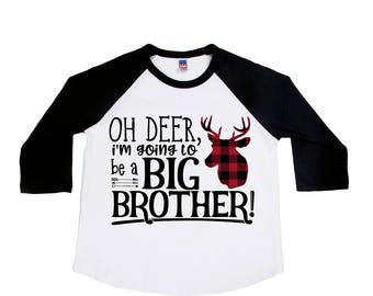 Oh Deer I'm Going to be a Big Brother Shirt - Big Brother Announcement Shirts - Buffalo Plaid - Big Brother to Be - Pregnancy Announcement