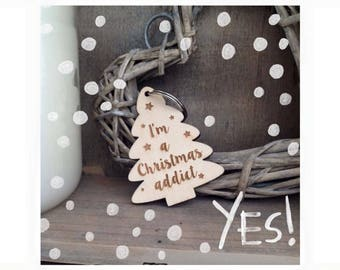 Christmas Tree Keyring I'm a Christmas Addict by Duck Duck Goose